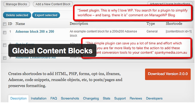 Global Contents Blocks