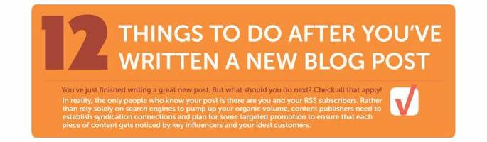 新規ページ作成、新しい投稿を行なったらすべき12の事インフォグラフィック by Ritu Sharma