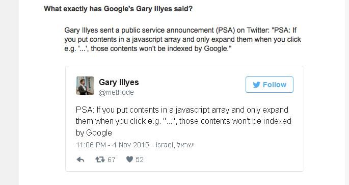 JavaScriptで隠されたテキストや画像は、Googleにインデックスされない。